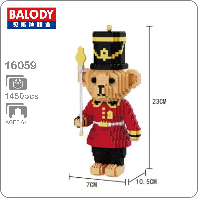 Balody <font><b>16059</b></font> Cartoon Royal Red Bear Soldier Model DIY Micro Diamond Mini Building Blocks Bricks 3D Assembly Kids Toy Gift image