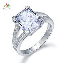 Павлин звезда Твердые стерлингового серебра 925 роскошное кольцо юбилей 6 карат создан Диаманте CFR8152