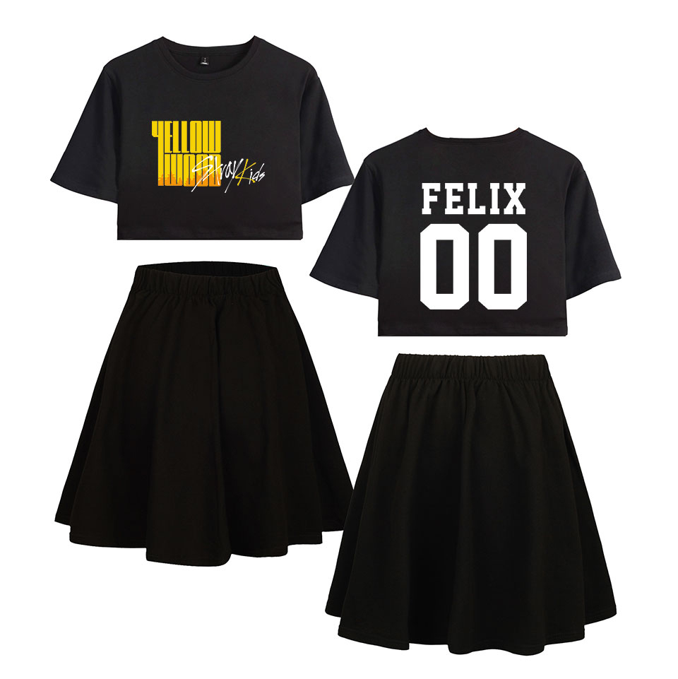 2D Stray Kids Yellow Wood Sets Print Summer Women Casual Two Pieces Sets Sexy Short Skirt+T-shirts 2019 Hot Sale Trendy Sets