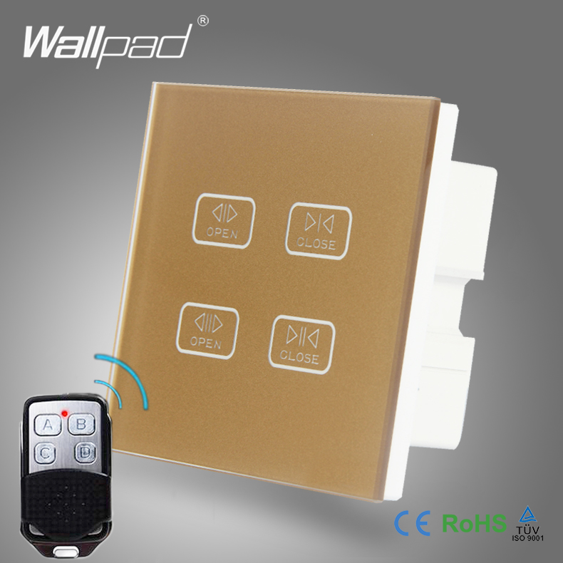4 Gang Remote Curtain Switch Wallpad Gold Crystal Glass Remote 4 Gang Touch Control Double Curtain Shutter Blinder Switch 4 gang curtain switch wallpad black tempered glass switch 4 gang touch double curtain window shutter blinder wall switches