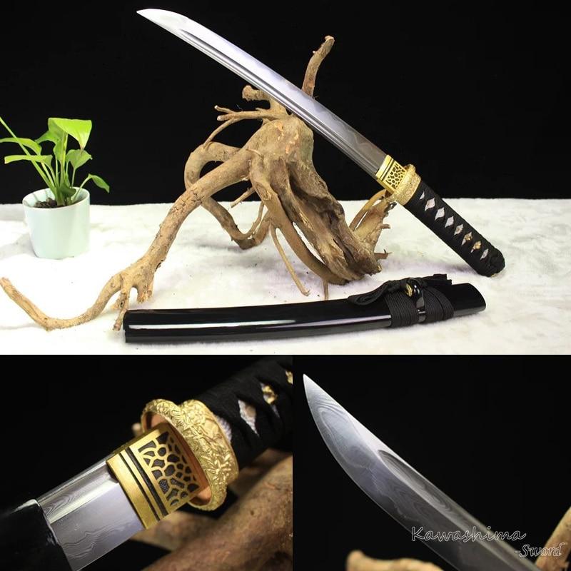 Espada samurái de acero de Damasco forjada hecha a mano Tanto/Wakizashi afilado completo Tang listo para cortar-in Espadas from Hogar y Mascotas    1