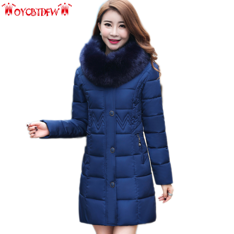 Winter feather cotton coat women 2017 new solid color plus size mid long hooded Thickeing Fur