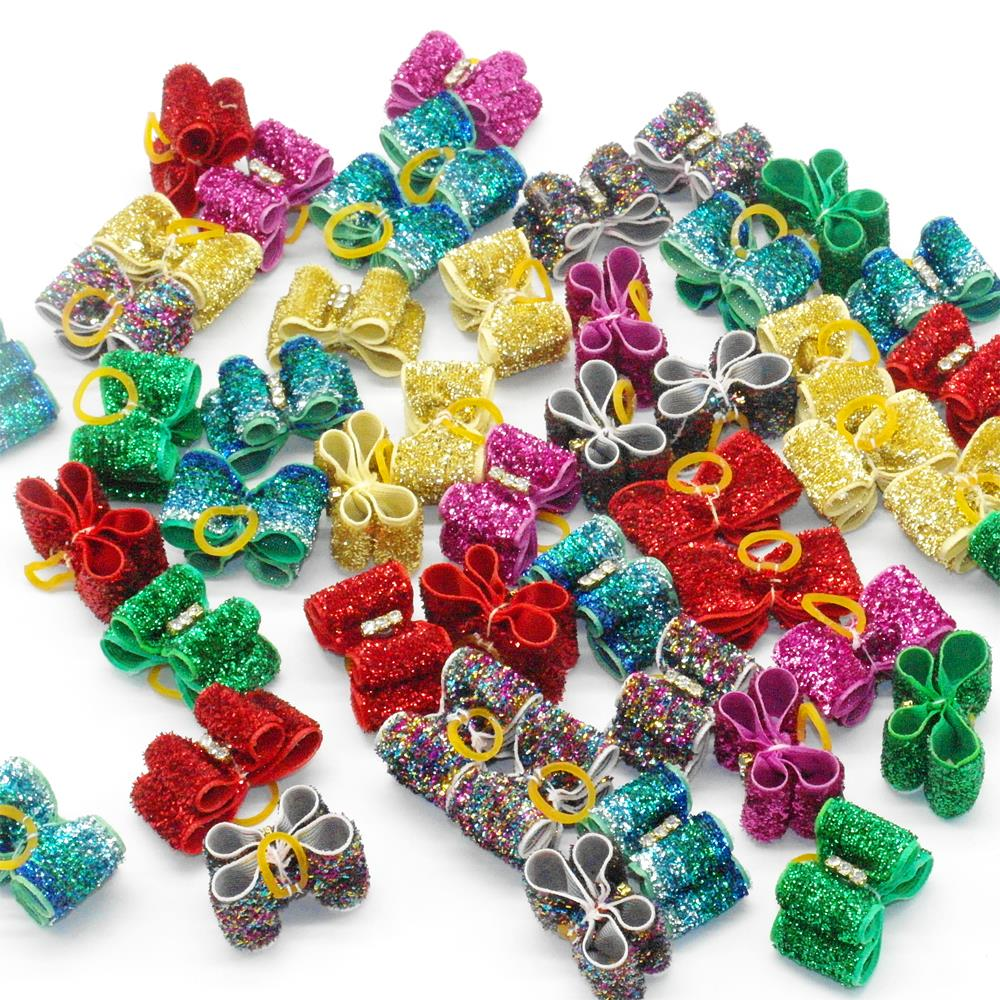 Cute Dog Hair Bows with Rubber Bands font b Pet b font Dog Bow Accessories For