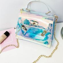 Fashion Fancy Colorful Laser Bags Jelly Handbags Women Cross