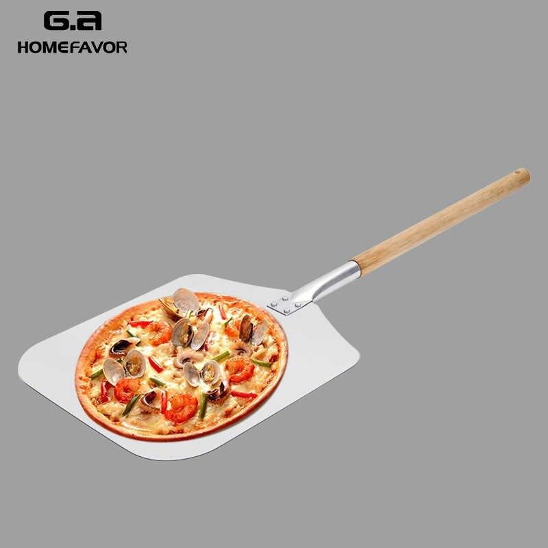 الألومنيوم بيتزا مجرفة قشر مع مقبض خشبي طويل المعجنات أدوات اكسسوارات البيتزا مجداف ملعقة كعكة الخبز القاطع