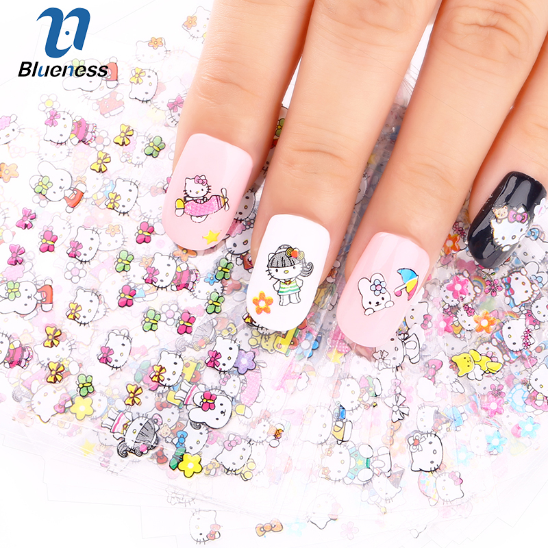 24 Manicure Designs Colorful Hello Kitty Nail Stickers, Nails DIY Beauty Decorations Tools For 3D Nail Art JH156 Nail Art Tools hot sale 12 styles pink flower designs 3d art nail stickers woman diy nail art decorations tip nail vinyls decals