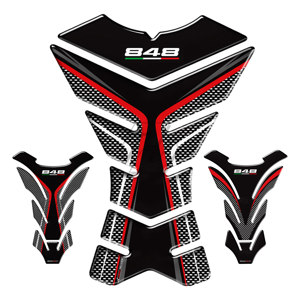 3D Resin Motorcycle Tank Pad Protector Decal Stickers Case For Ducati 848 EVO Tankpad
