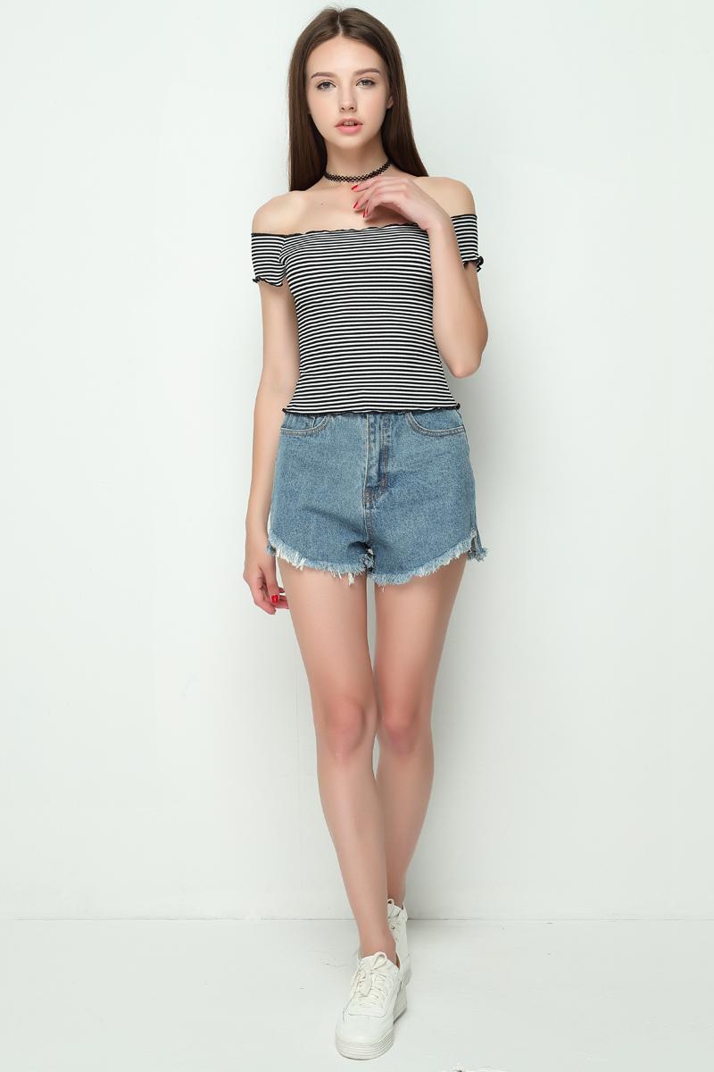 HTB1iqxIRVXXXXXOaXXXq6xXFXXXi - Striped Knitted Off Shoulder Slash Neck Short Sleeve T Shirt PTC 27