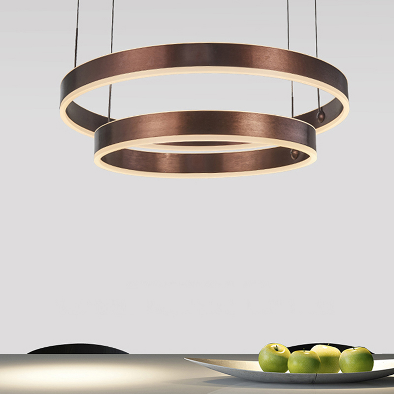 Round Single Layer Double Metal Deep Bronze Postmodern LED Pendant ligh Fashion Design Minimalist Art pendant lamp ...