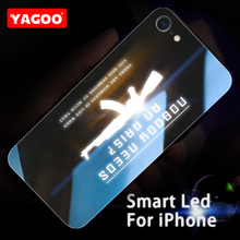 Yagoo Smart Led Glow Phone Case For iPhone 6 6S Plus Cases Back Cover Cool Patterned Funda Luxury Alphabet Sport Silicone Capa