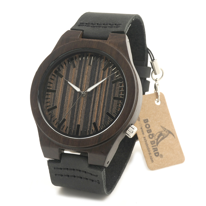 BOBO BIRD 100 Natural Ebony Wooden Bamboo Watches With Real Leather Japanese Quartz Movement Casual Watches