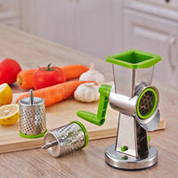 Stainless Steel Vegetable Grater with 3pcs Drum Shape Graters Multi function Shredder Hand Roller Rotary Grater Cheese Planer