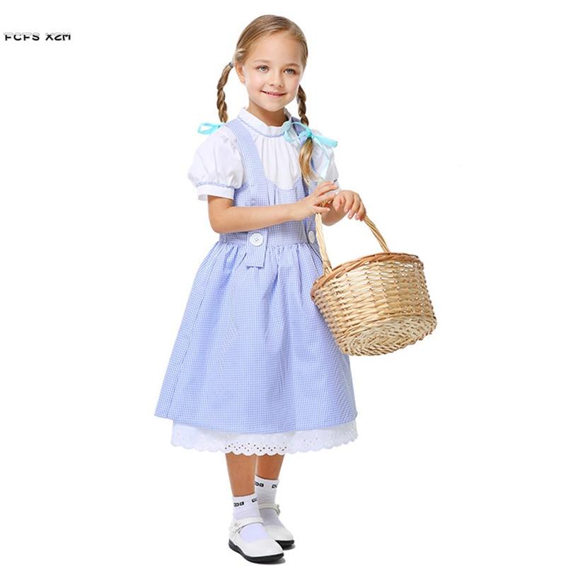 Детские Хэллоуин костюмы горничной для девочек служанка Cosplays карнавал Пурим Маскарад этап show ролевая игра праздничное платье