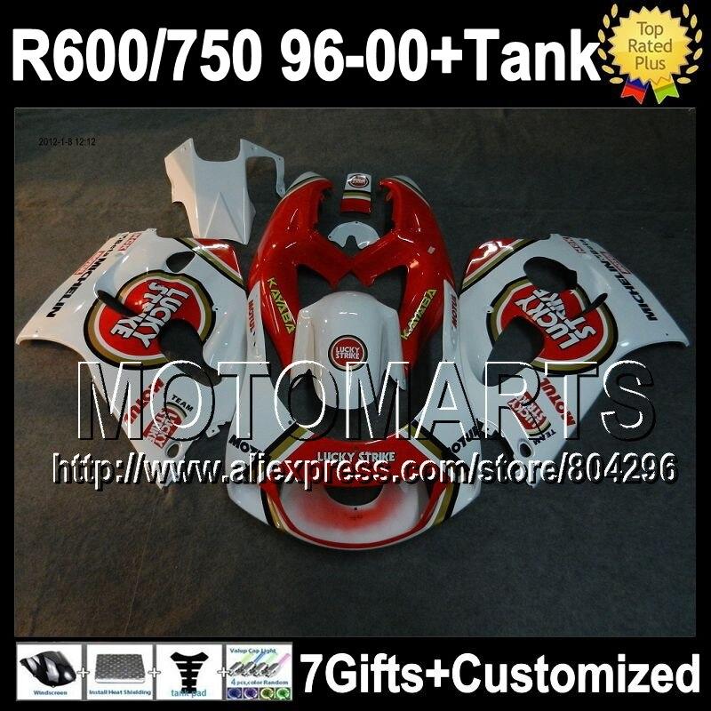 +Tank For SUZUKI GSX R750 R600  96 97 Lucky Strike 98 99 00 GSXR 750 600   3J26 1996 1997 1998 1999 2000 Fairing White red Lucky
