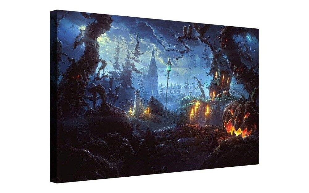 Halloween mur Art peinture vent citrouille lanterne dans la forêt sombre effrayant avec des nuages sombres hanté maison peinture livraison directe