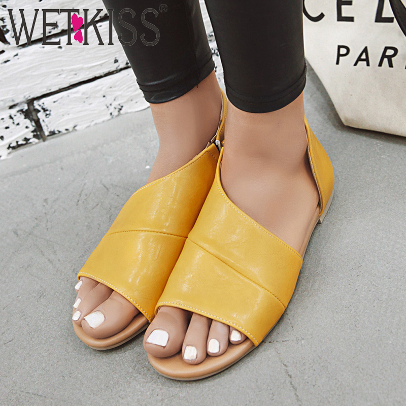 WETKISS Flat Sandals Women 2019 New Summer Sandals Fashion Casual Shoes Female Open Toe Pu Shoes Ladies Yellow Plus Size 34-46WETKISS Flat Sandals Women 2019 New Summer Sandals Fashion Casual Shoes Female Open Toe Pu Shoes Ladies Yellow Plus Size 34-46