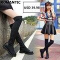 Nuevo de Las Mujeres Estiramiento de la Manera Atractiva Sobre la Rodilla Botas Botas de Tacón de Plataforma Plana Zapatos de Mujer Negro tamaño 34-41 D49