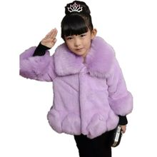 Furry Little Girls Cardigans 2018 Autumn Winter Faux Rabbit Fur Coats Cute Baby Thicker Jackets Princess Kids Warm Clothes N29(China)