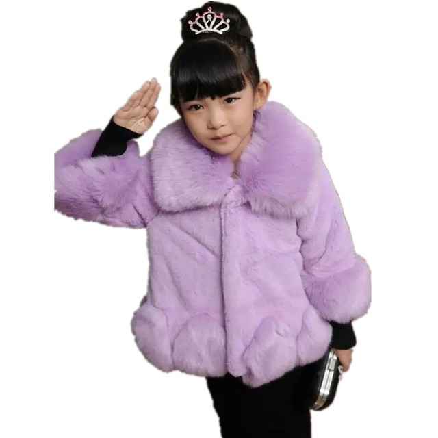 5e7b750d5 Furry Little Girls Cardigans 2018 Autumn Winter Faux Rabbit Fur ...