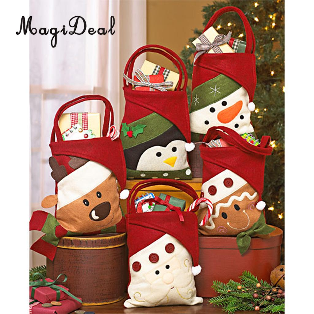 MagiDeal Cute 1Pc Christmas Gift Bags With Handle Candy Stocking Pouch Xmas Home Window Door Decor Ornament Gifts Bear/Penguin