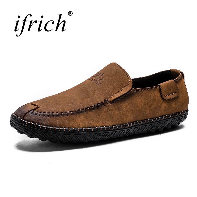 Ifrich Spring Summer Men's Shoes Made of Genuine Leather Slip on Man Fashion Driving Loafers Brown Man Leather Casual Footwear new 2017 men s genuine leather casual shoes korean fashion style breathable male shoes men spring autumn slip on low top loafers
