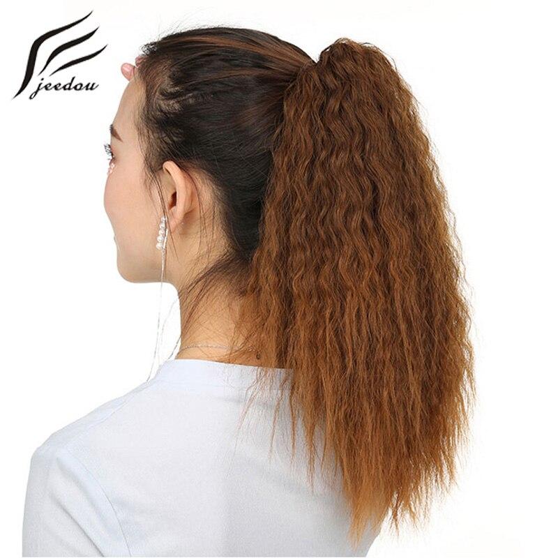 Jeedou короткие странный вьющиеся хвостики волос коготь хвост Синтетический 90 г черный, красный блондинка матовое Цвет натуральный шиньоны