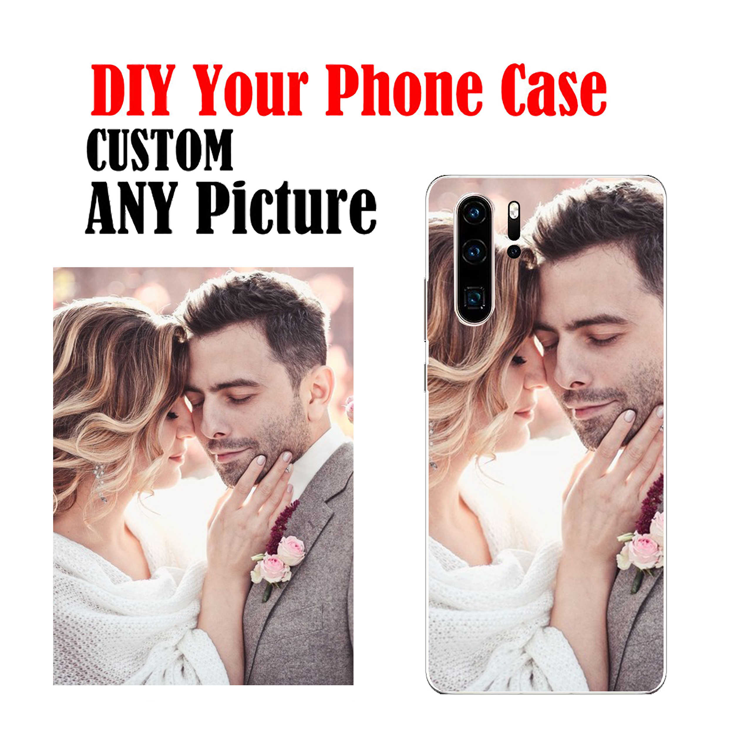 DIY Photo Name Text Cell Customize Soft Phone Case Cover Shell Coque for huawei p8 P9 P10 lite P20 P30 Pro Lite P8 P9
