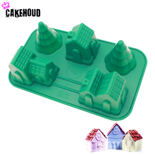 Christmas House and Tree Cake Mold DIY Soap for Fondant Decorating Sugar Craft Mould Family Baking Tool Bakeware