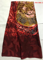 Maroon Gold Flocking Silk Velvet With Red Tiger Pattern African Fabric Arabian Style 5yards Pcs For