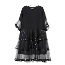 Tshirt dress vestidos mujer verano 2017 Women White long dress black Dress Summer Splicing Pleated Mesh Ruffles Dresses Vestido