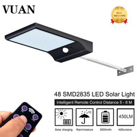 Upgraded 48 Leds Solar Light With 3 Modes 7 Color Remote Control Waterproof Motion Sensor Lamp