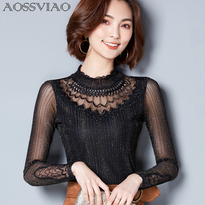 Lace Mock Neck Lettuce Hem Glitter Mesh Blouse Sexy Womens Long Sleeve Tops  2018 New Black High Neck Elegant Slim Blouse 80fc78779051