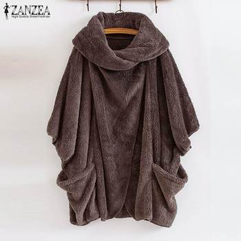 ZANZEA 2020 Winter Warm Fluffy Jackets Women's Coats  Sleeve Female Button Outwear Poncho Autumn Cardigan Plus Size Tops 1