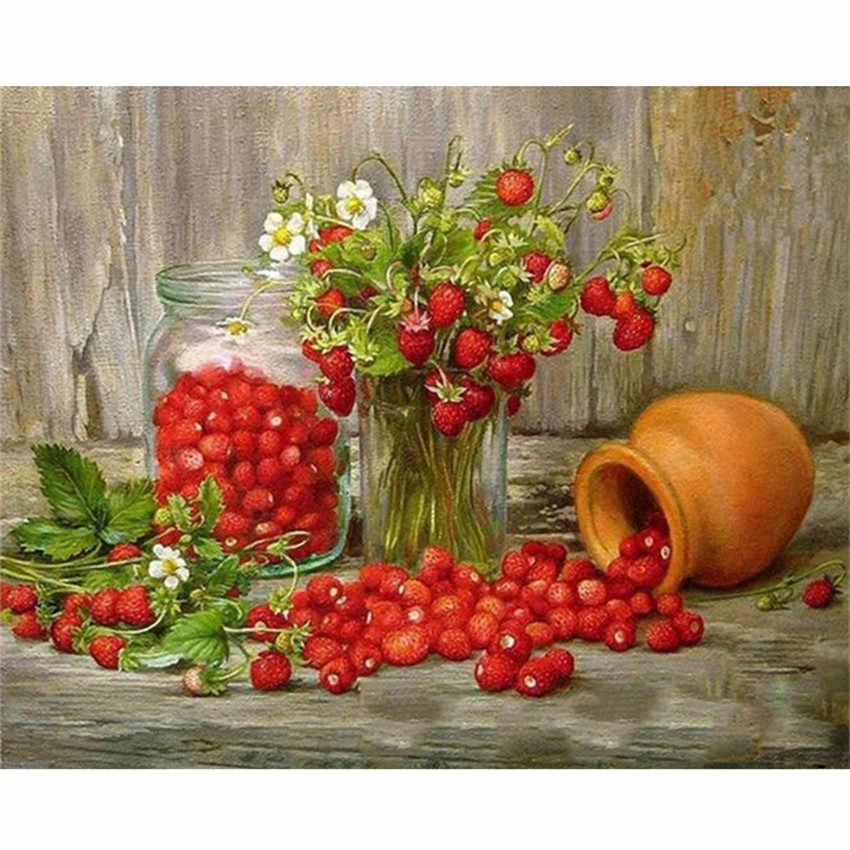 DIY Digital Painting By Numbers Package The Cherry jar oil painting mural Kits Coloring Wall Art Picture Gift frameless