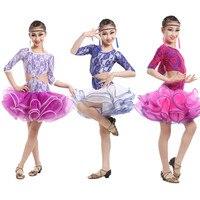 Children's Lace Latin Dance Dress Competition Girls Dance Dresses