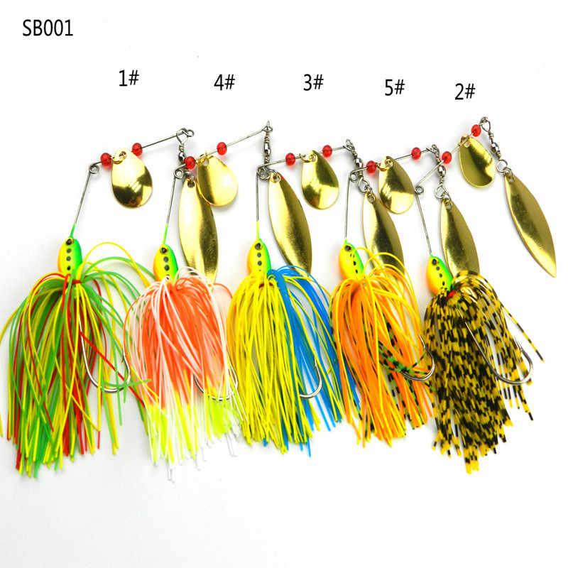 16,3G Spinner cebo Metal lentejuelas señuelos silicona falda Jig pesca señuelo Wobbler Spinner barba aparejos océano pesca herramientas