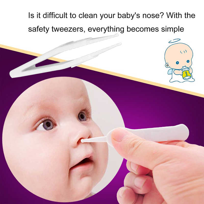 Baby Safe Cleaning Tweezers White Security Tweezers for Newborn Scratch Prevention Multi-Function Ear Forceps Digging Nose Clip