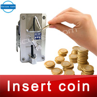 Room escape game prop,coin selector drop coins into slot machine to escape from chamber room insert coins prop