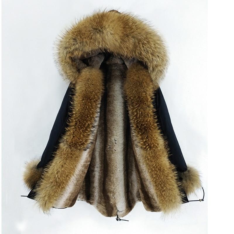 2018 Naturel Casual Épais Fourrure Survêtement Laveur Nouvelle Réel Chaud Raton Streetwear Amovible 3 Collier Manteau Capot Veste D'hiver De Femmes Dans 1 wXXxSqrOU1