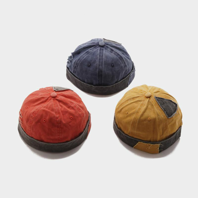 2019 Adult Retro Street Skullcap Casual Short Denim Patch Hole Hip Hop Hat font b Beanie