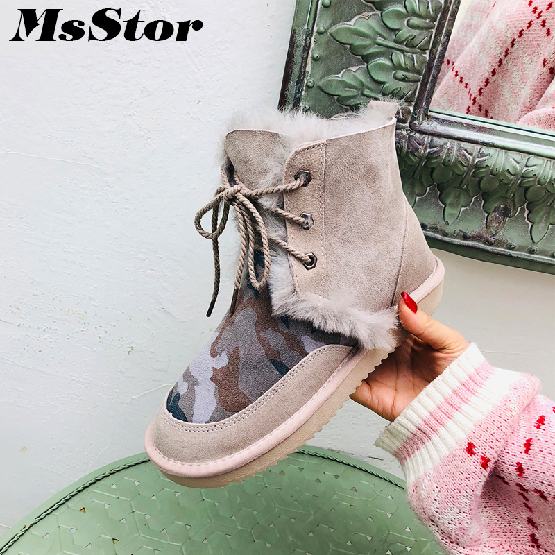 MsStor Women Snow Boots Fashion Wool Warm Ankle Boots For Woman Winter Shoes Lace Up Wool Cotton Boot Shoes For Woman Snow Boots gretel wool boots