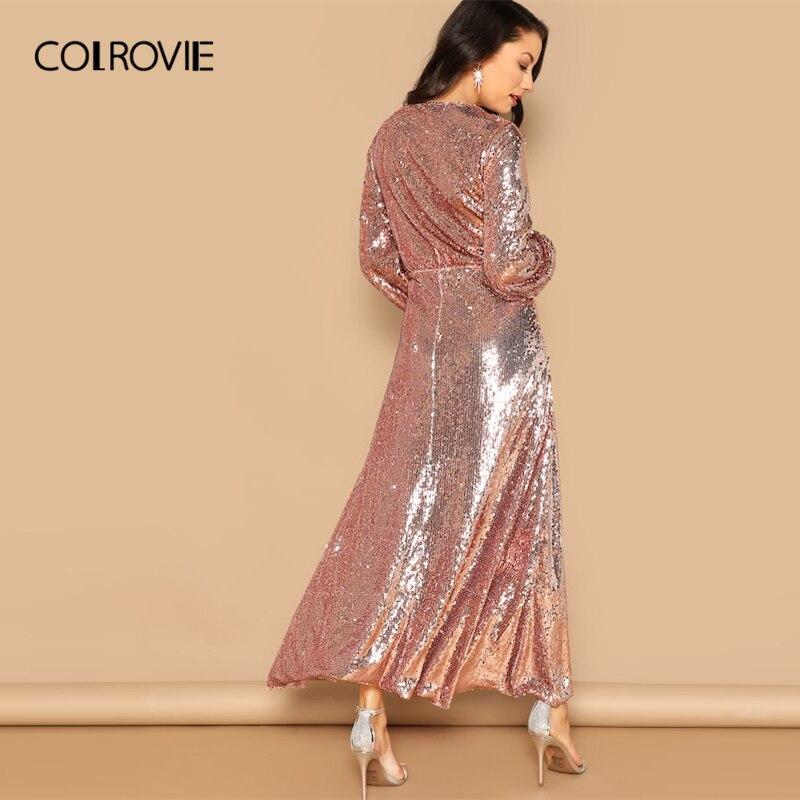 Kadın Giyim'ten Elbiseler'de COLROVIE Pembe V Boyun Surplice Wrap Pullu Parti Elbise Kadınlar 2019 Bahar Moda Fener Kollu Bir Çizgi Zarif Maxi Elbiseler'da  Grup 2
