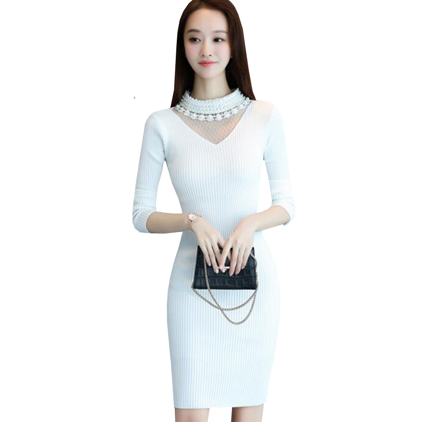 New Long Sweater Dress Autumn Winter Women Sexy Mesh patchwork Knitted Dress Lady Beading Bodycon Knitted Dresses Vestidos AB536