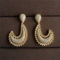 Wuge Schmuck Luxus antiken Zirkonia Micro Pave Einstellung Mode große hool geformt Ohrring für Frauen
