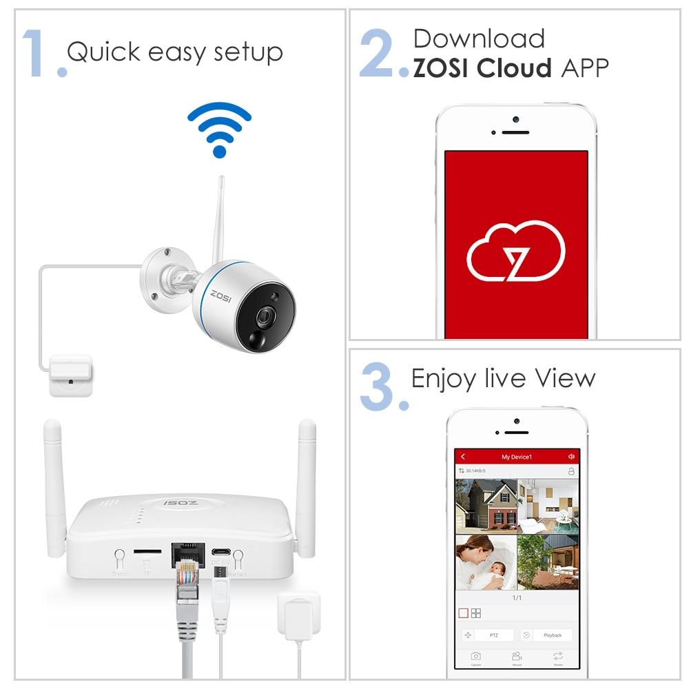 US $97 59 39% OFF|ZOSI CCTV Security Camera System 1080P WiFi Mini NVR Kit  Video Surveillance Wireless IP Camera,PIR Function,SD Card Recording-in