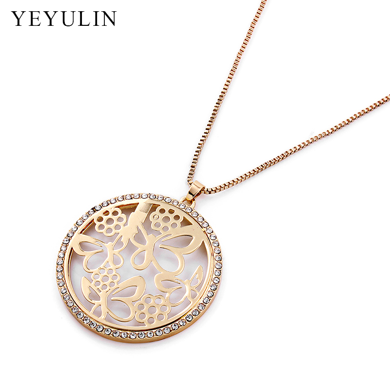 Trendy Silver Gold Butterfly Pattern Crystal Pendant Necklace Woman s Long Sweather Chain Choker Collar Jewelry