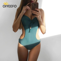 Oiyeefo Underwire Thick Pad Push Up Swimsuit One Piece Bathing Suits Women Monokini 2018 New Green