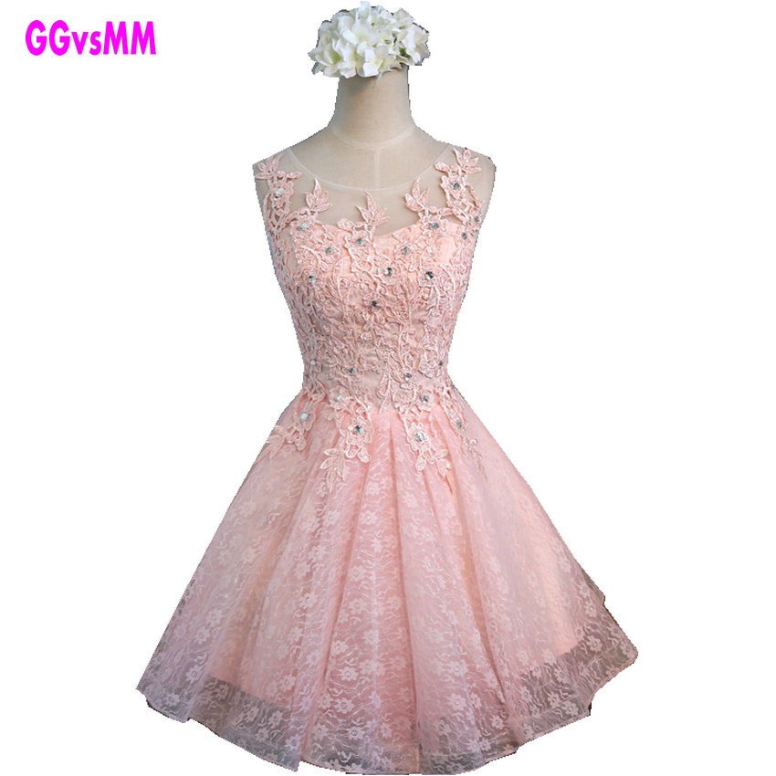 ᓂReal Photos Elegant Pearl Pink Lace Plus Size Evening Dress 2018 ...