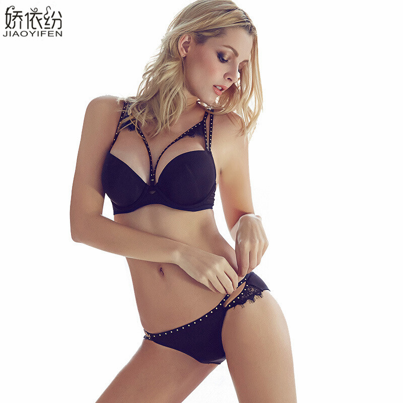 Brand fashion sexy lingerie   sets   metal rivet eyeholes glossy women's   bra     set   skin-friendly soft comfortable   bra     brief     sets