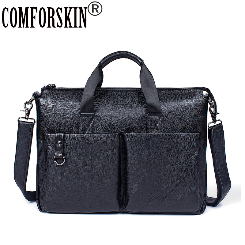 COMFORSKIN Bolsa Masculina New Arrivals Luxurious 100% Genuine Leather Business Men Briefcase 2018 Hot Fashion Men